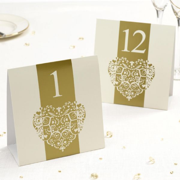 Vintage Romance Ivory & Gold Table Numbers (12)